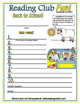 Back to School Reading Log and Certificate