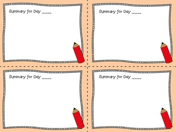 Back to School Reading Log and Summary Cards