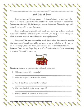 Back to School Reading Passage & Questions, Writing Prompt, Get to Know Me