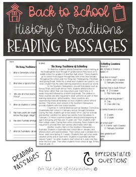 Back to School Reading Passages