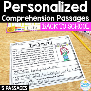 Back to School Reading Passages: PERSONALIZED Comprehension First Day of School