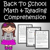 Back to School Reading Passages and Math Worksheets Bundle