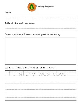 Back-to-School Reading Response Sheet