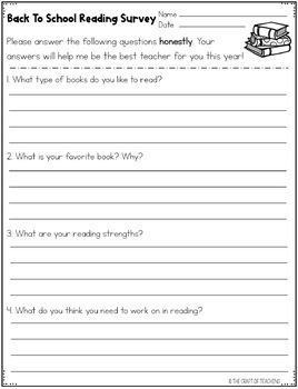 Back to School Reading Survey