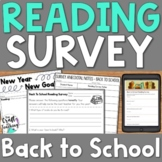 Back to School Reading Survey | Distance Learning
