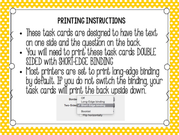 Back to School Reading Task Cards