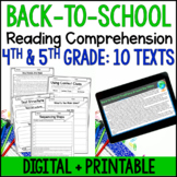 Back to School Reading Comprehension Passages and Activities {Just Print}