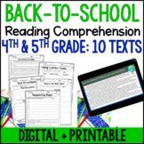 Back-to-School Reading Comprehension - Digital Back-to-School Reading Activities
