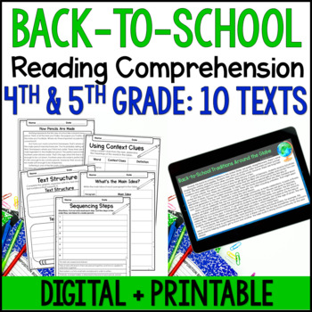 Back to School Reading Comprehension Passages and Activiti