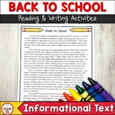 Back to School Reading and Writing Activities   Finding an