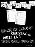 Back to School Reading and Writing Task Card Survey