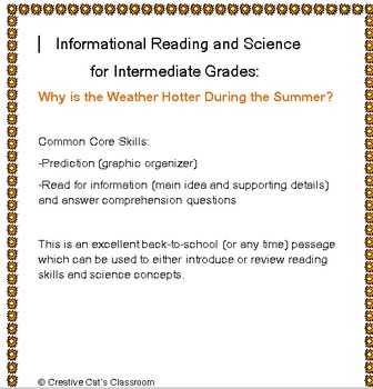 Back to School Reading for Information: Weather