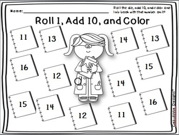 No Prep!!!  Roll and Color ~ Adding Ten ~ Packet