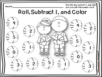 No Prep!!!  Roll and Color ~ Subtraction Packet