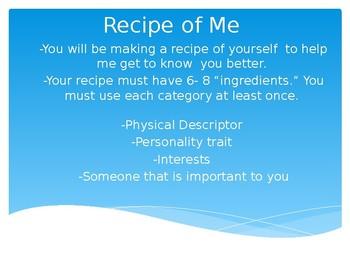 Back to School - Recipe of Me - Editable
