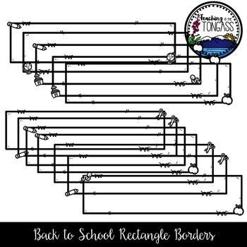 Back to School Rectangle Borders Clipart Bundle