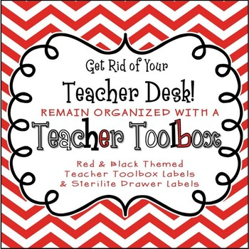 Back to School Teacher Toolbox Labels (Editable) Red Chevron