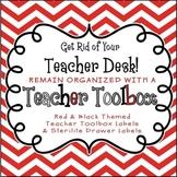 Back to School Teacher Toolbox Labels (Editable) Red Chevron