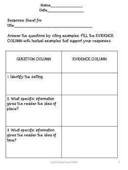 Back to School Response Sheet