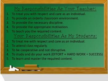Back to School- Responsibilities Poster