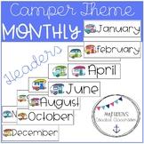 Back to School Retro Camper Themed Calendar Headers
