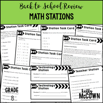 Back to School Review Math Stations Grade 8