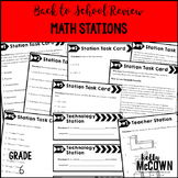 Back to School Review Math Stations Grade 6