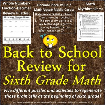 Back to School Math Review for Sixth Grade - 5 Puzzles and