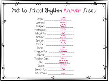Back to School Rhythm Scavenger Hunt