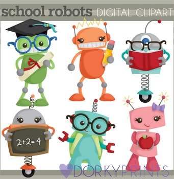 Back to School Robots Clipart