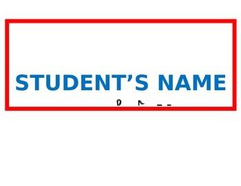Back to School Rock Theme Desk Name Tag
