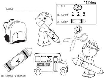 Back to School Preschool & Kindergarten Math: Roll, Count, Color
