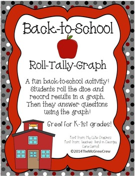 Back-to-School Roll Tally Graph Math Activity Set