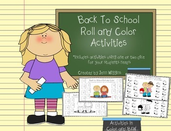Back to School Roll and Color Activities