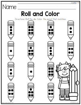 Back to School Roll and Count Numbers 1-12