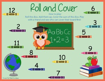 Back to School Roll and Cover game board