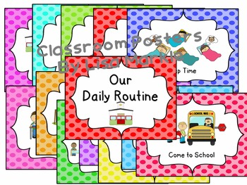 Back to School Routine Emergent Reader and Classroom Posters for Preschool