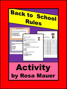 Back to School Rules Book Activities