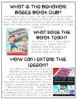 Back to School Rules- Behavior Basics Book Club