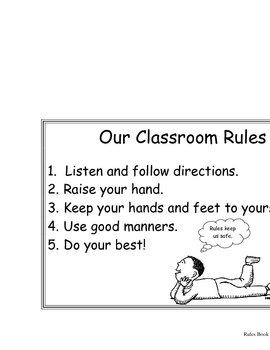 """Back to School """"Rules"""" Book K-2"""