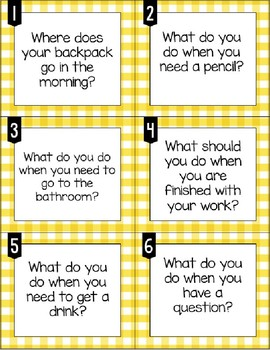 Back to School Rules & Procedures Task Cards