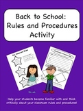 Back to School: Classroom Rules and Procedures Activity