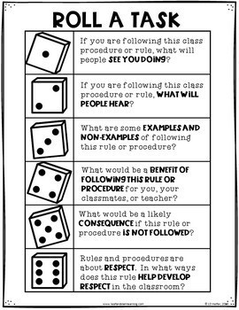 Back to School Rules and Procedures Task Cards