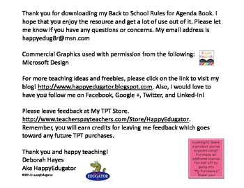 Back to School - Rules for Agenda Book - FREE