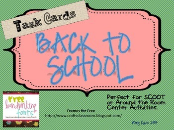 Back to School SCOOT Task Cards