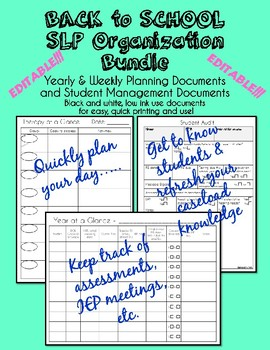 Back to School SLP Organization Bundle