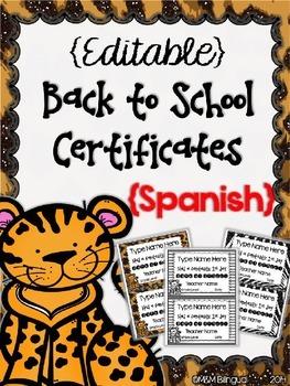 Back to School - SPANISH Editable Certificates