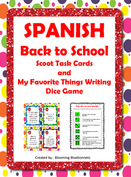 Back to School SPANISH Scoot Task Cards