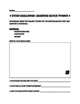 Back to School STEM Challenge: Hashtag Blocks Tower