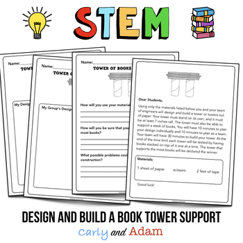 Back to School STEM Challenge: Tower of Books- NGSS Aligned